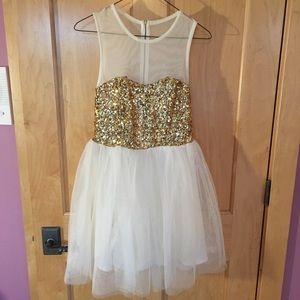 ASOS Dress with Gold Sequin and White Tule